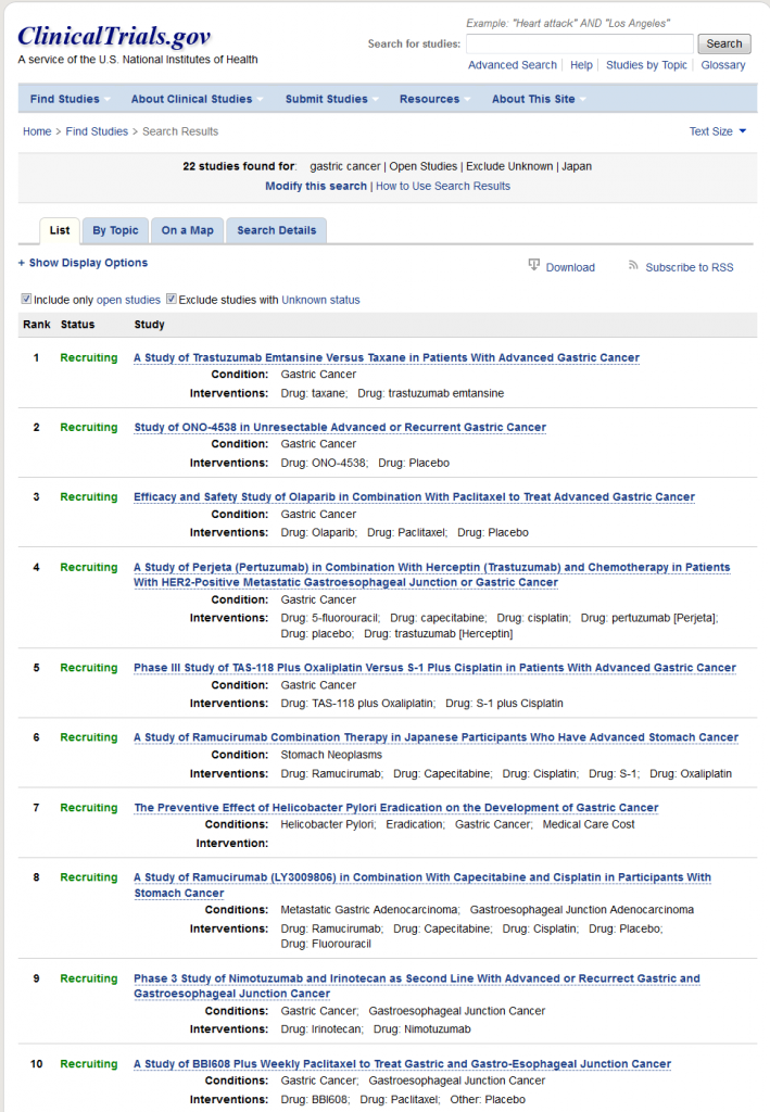 Search of- gastric cancer  Open Studies  Exclude Unknown  Japan - List Results - ClinicalTrials.gov
